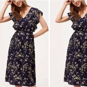 Loft Blue Floral Flutter Sleeve Midi Dress Size M